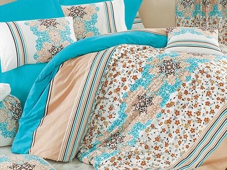 Homeville Obliečky 100% bavlna Leila tyrkysová s dvomi obliečkami na vankúš - 140x220 / 50x70 + 70x90