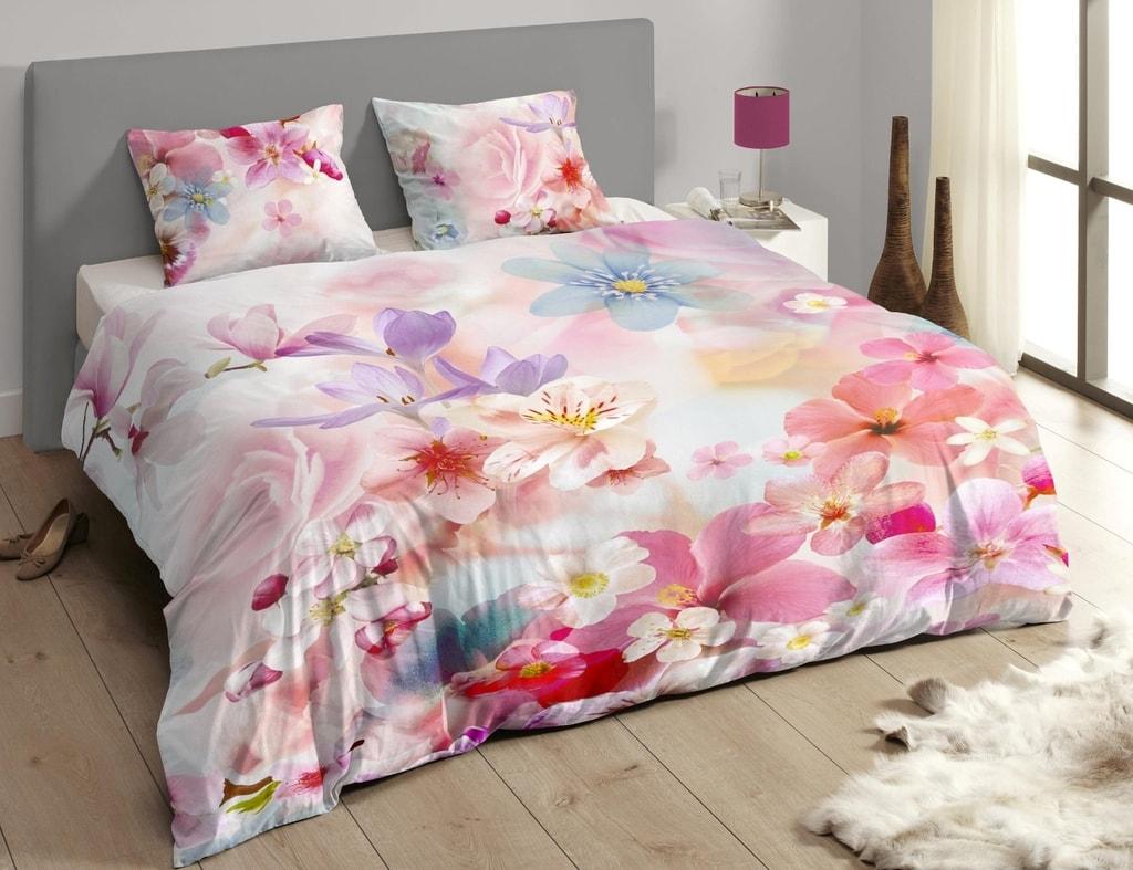 Descanso Luxusné saténové obliečky DESCANSO 9257 Juliette 3D kvety - 240x200-220 / 60x70 cm