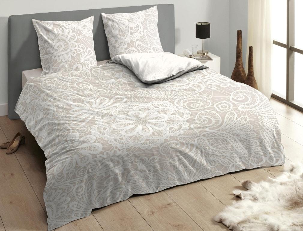 Descanso Luxusné saténové obliečky DESCANSO 9301 Lace pieskové - 200x200-220 / 60x70 cm