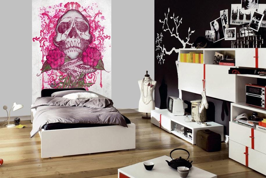 1Wall 1Wall fototapeta Miami Ink Ružová lebka 158x232 cm