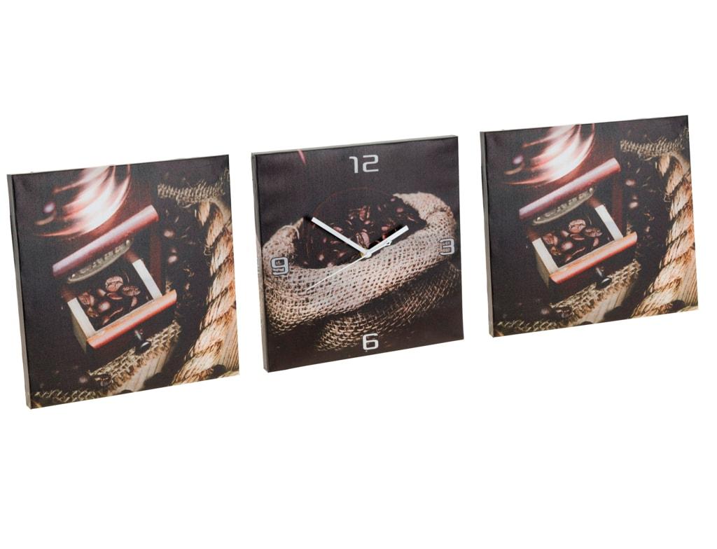 Home collection Home collection Sada obrazov s hodinami - motív kávy 3x 30x30 cm - Varianta se šálkem a mlýnkem