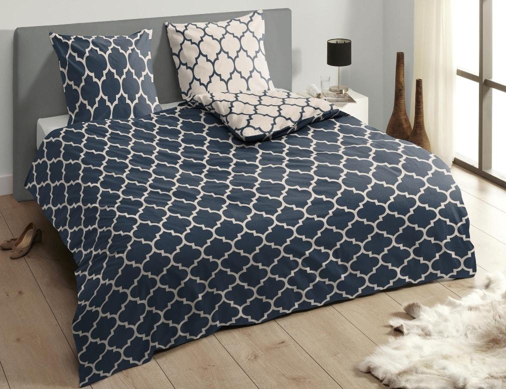 Descanso Luxusné saténové obliečky DESCANSO 9278 Lory tm.modrá - 140x200-220 / 60x70 cm