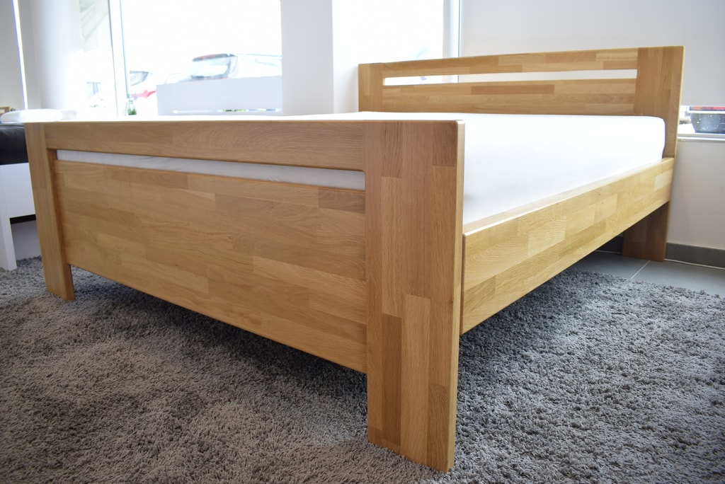 Oak´s Dubová postel Skanderborg dub cink, přírodní moření, vodní lak - 140x200 cm