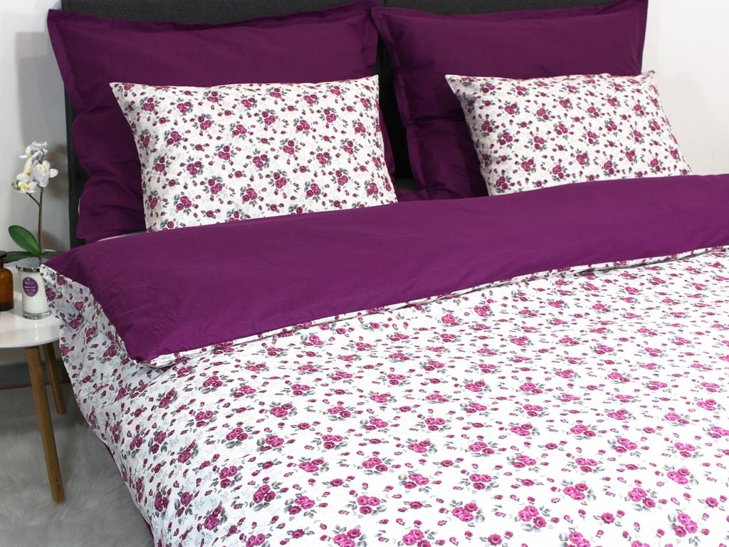 Homeville Obliečky 100% bavlna Romance fialová s dvomi obliečkami na vankúš - 220x200 / 2x50x70 + 2x70x90