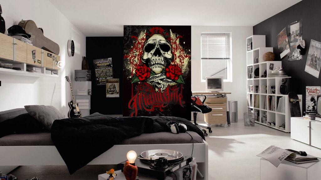 1Wall 1Wall fototapeta Miami Ink Čierna lebka 158x232 cm