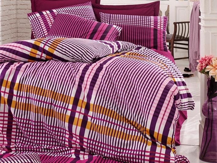 Homeville Obliečky 100% bavlna Emma fialková káro s dvomi obliečkami na vankúš - 140x220 / 50x70 + 70x90