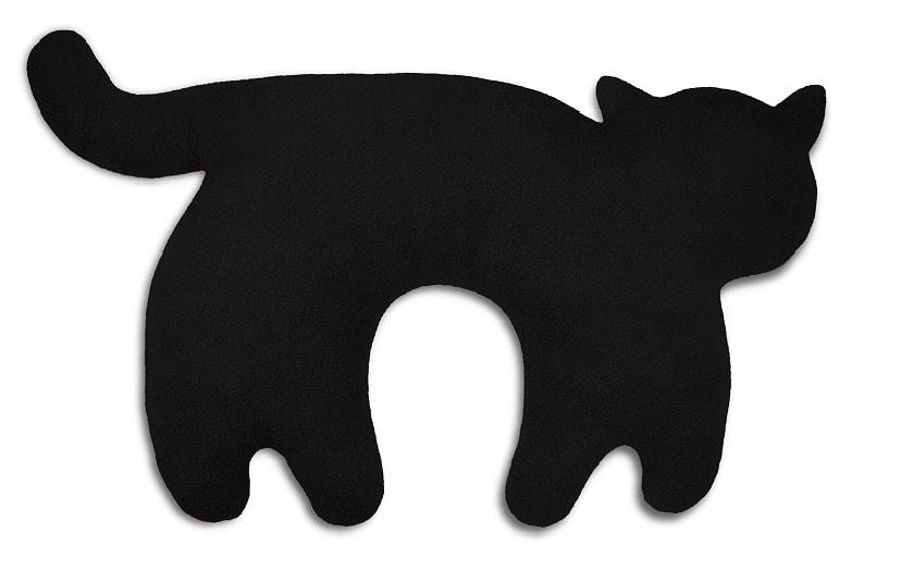 Leschi Cestovní polštářek kočka Feline 46x25cm černá/černá