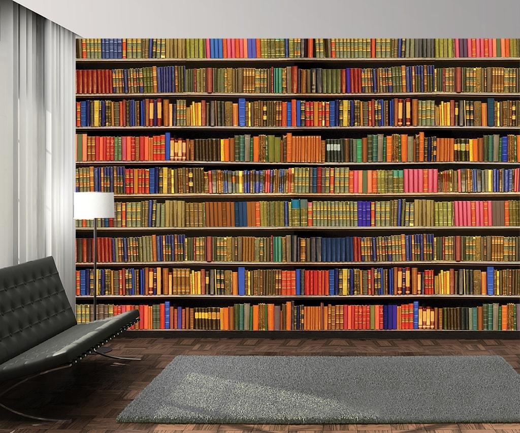 картинка книги на полках для стен оказываю