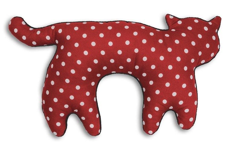Leschi Cestovní polštářek kočka Feline 46x25cm červená s puntíky/černá
