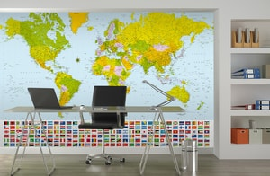 W+G fototapeta Mapa sveta s vlajkami 366x254 cm